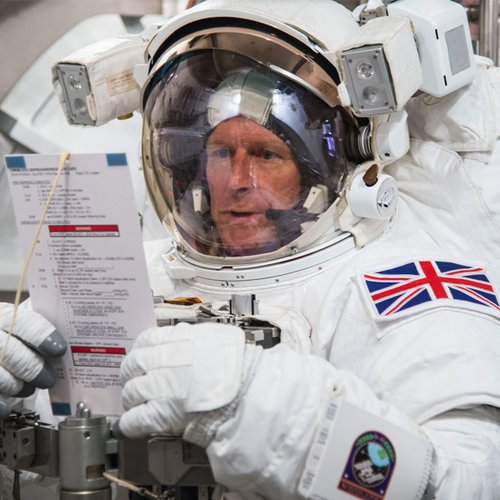 British astronaut Tim Peake trying on a space suit prior to ISS trip.