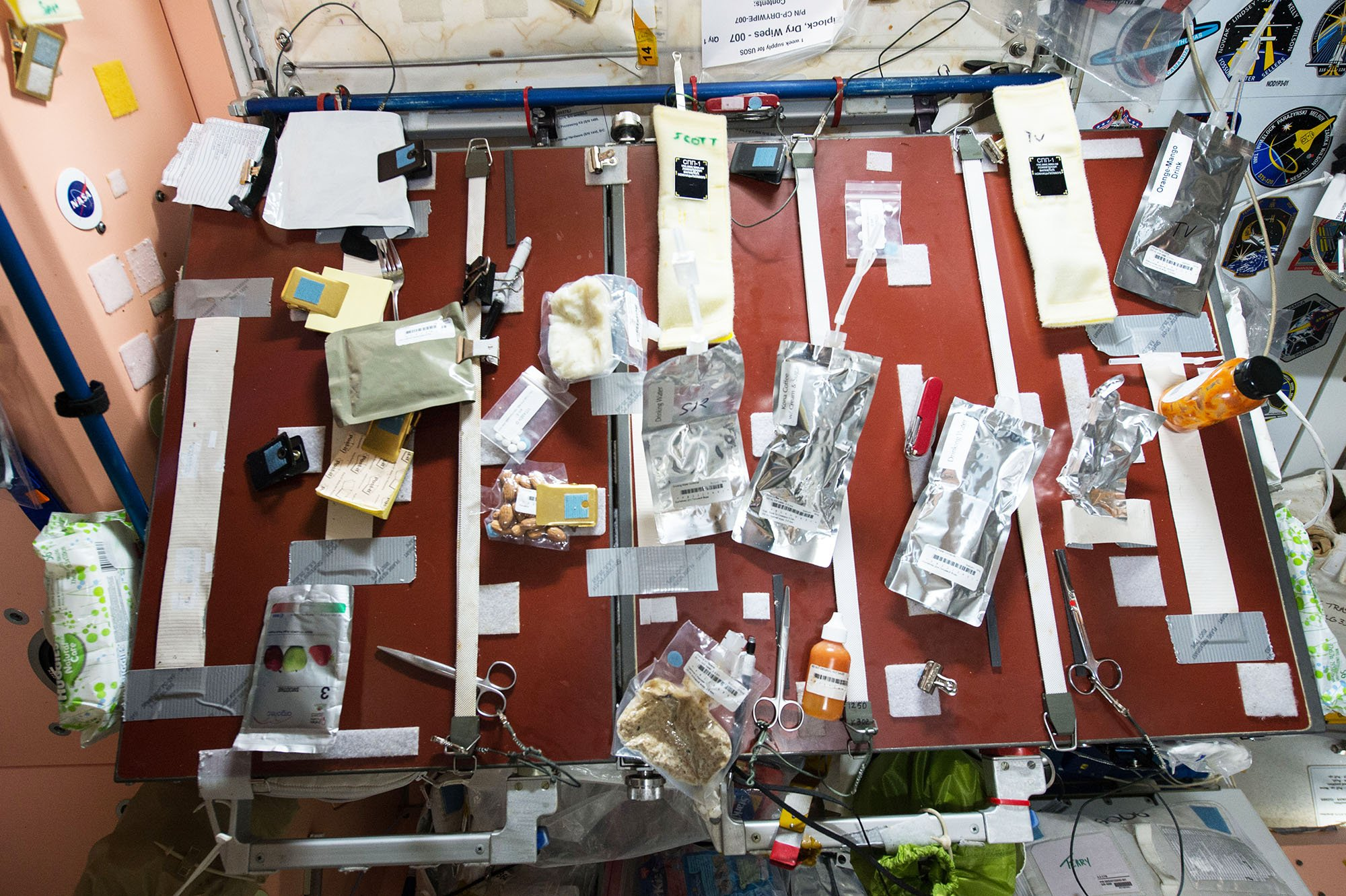 Food table on International Space Station
