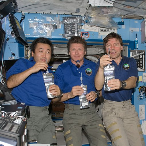 Astronauts show how surface tension is effected in space.