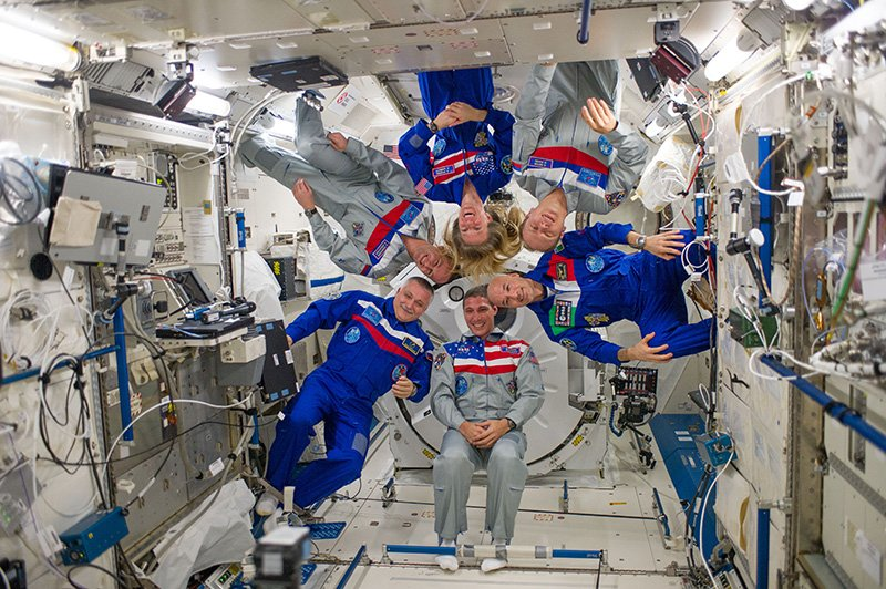 Astronauts in space.