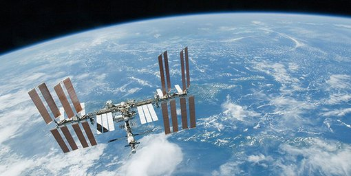 View of the International Space Station and planet earth from space.