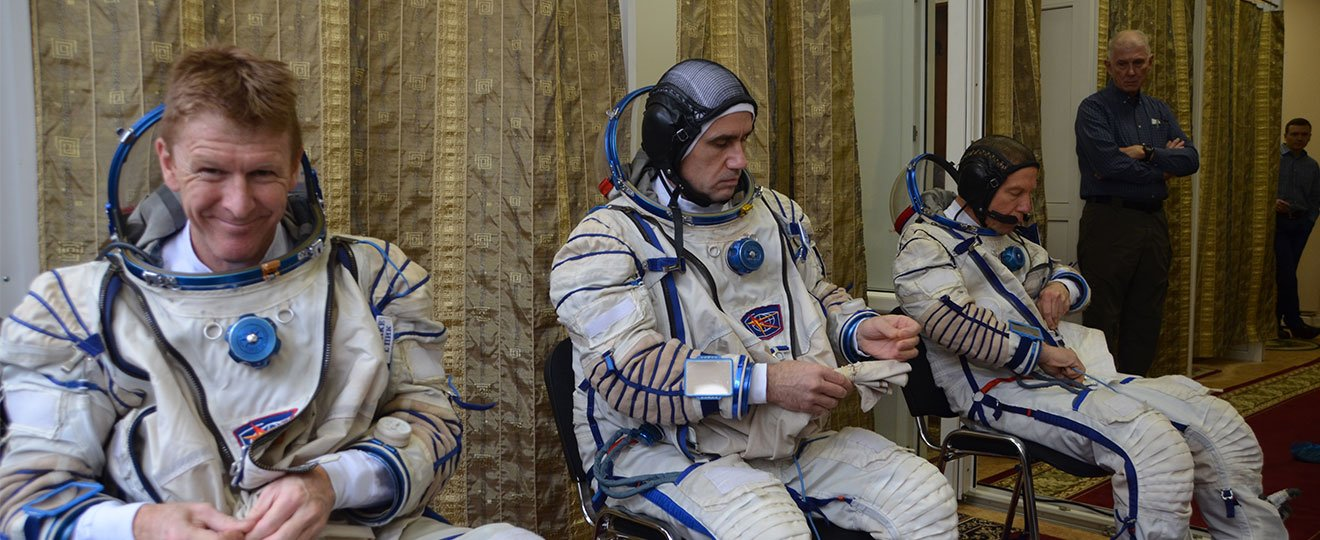 Tim Peake in space suit for Soyuz training.