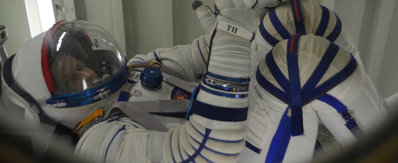 British astronaut Tim Peake training in space suit.