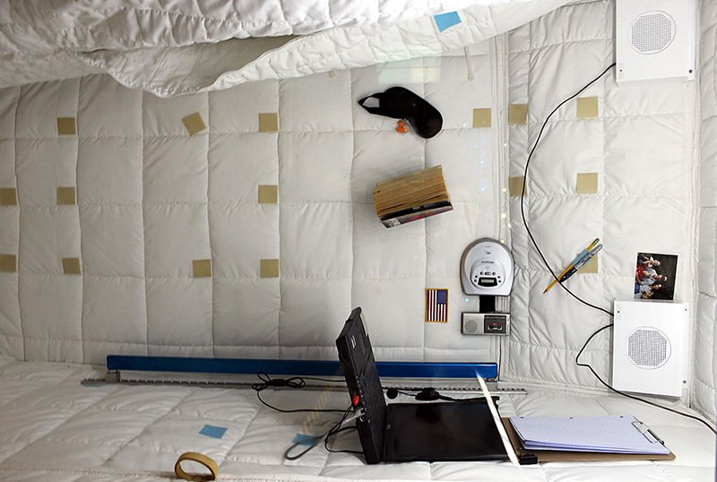 An astronaut's sleeping quarters aboard the International Space Station.